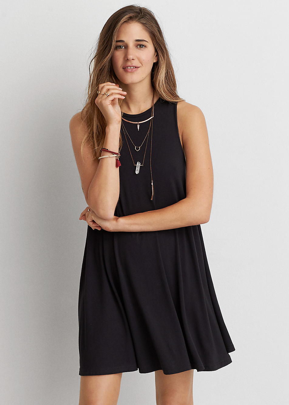 AEO Soft & Sexy Solid Swing Dress - Casual Little Black Dresses