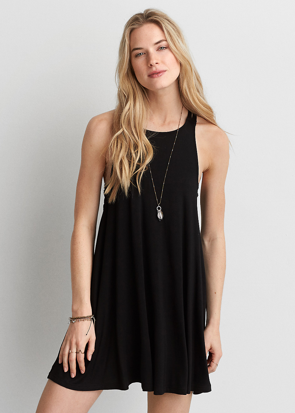 AEO Soft & Sexy Strappy Shift Dress - Casual Little Black Dresses