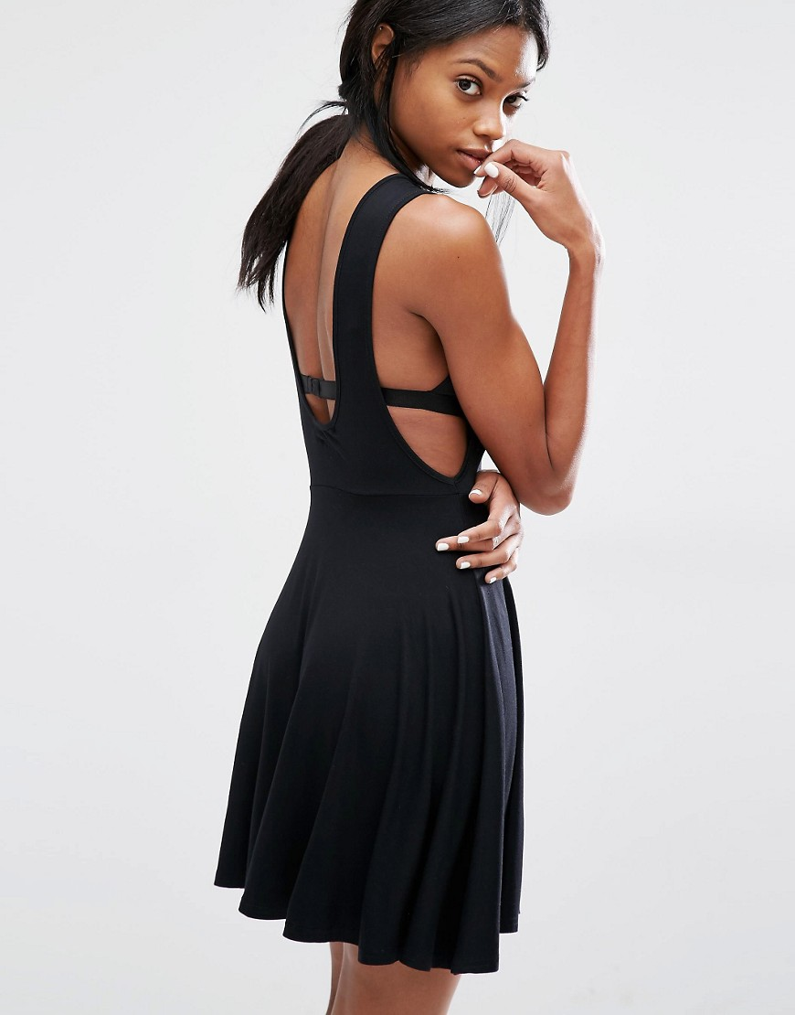 Missguided Drop Armhole Scoop Back Skater Dress - Casual Little Black Dresses