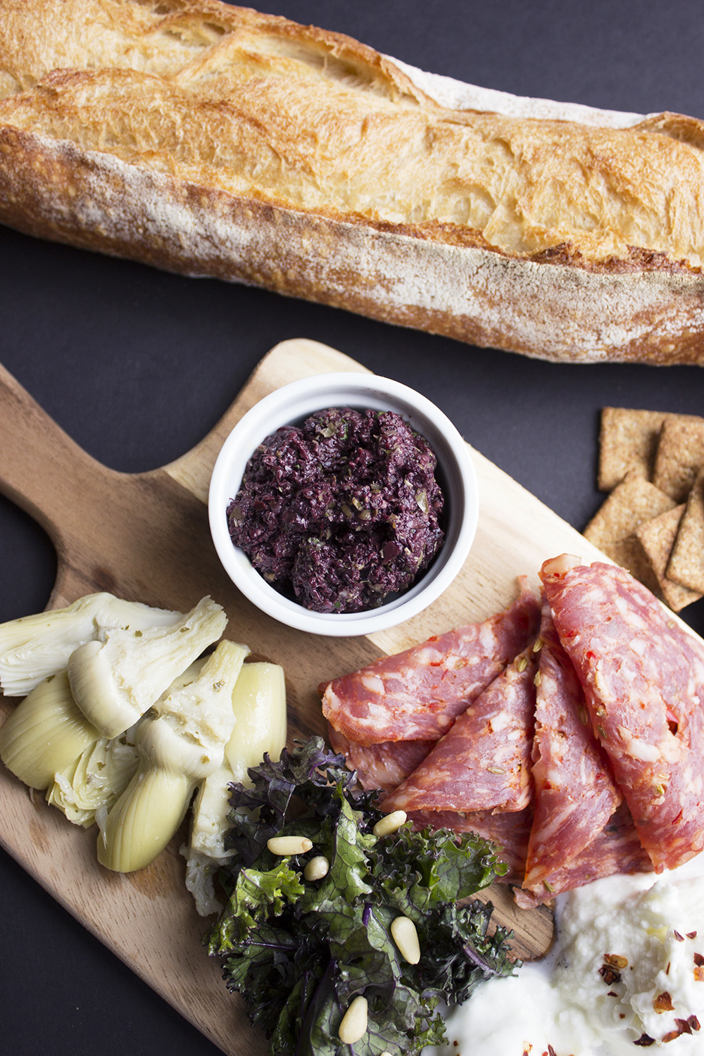Spring Snack Board with Olive Tapenade 1