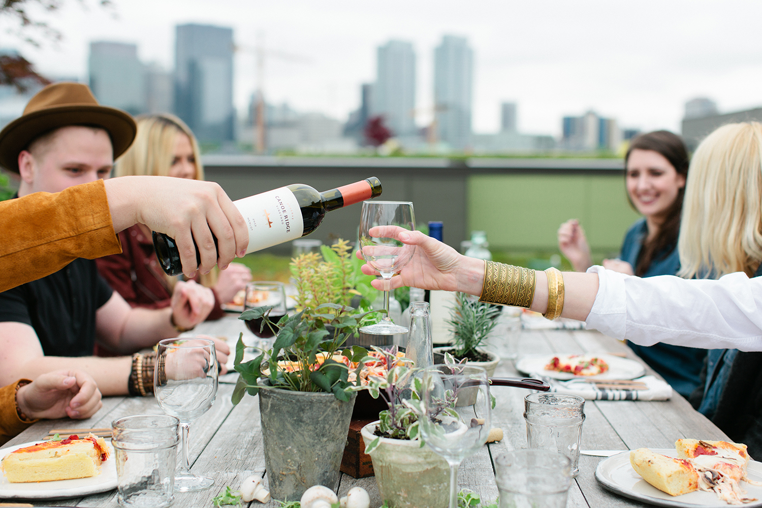 Pizza and Wine on a Rooftop in Seattle Canoe Ridge collaboration