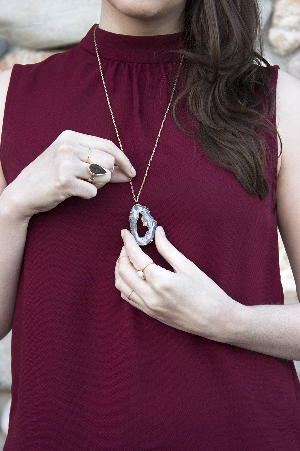 UncommonGoods geode necklace outfit Oco Geode Pendant
