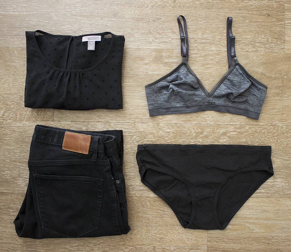 A Comfydent Night Out in Hanes - flat lay