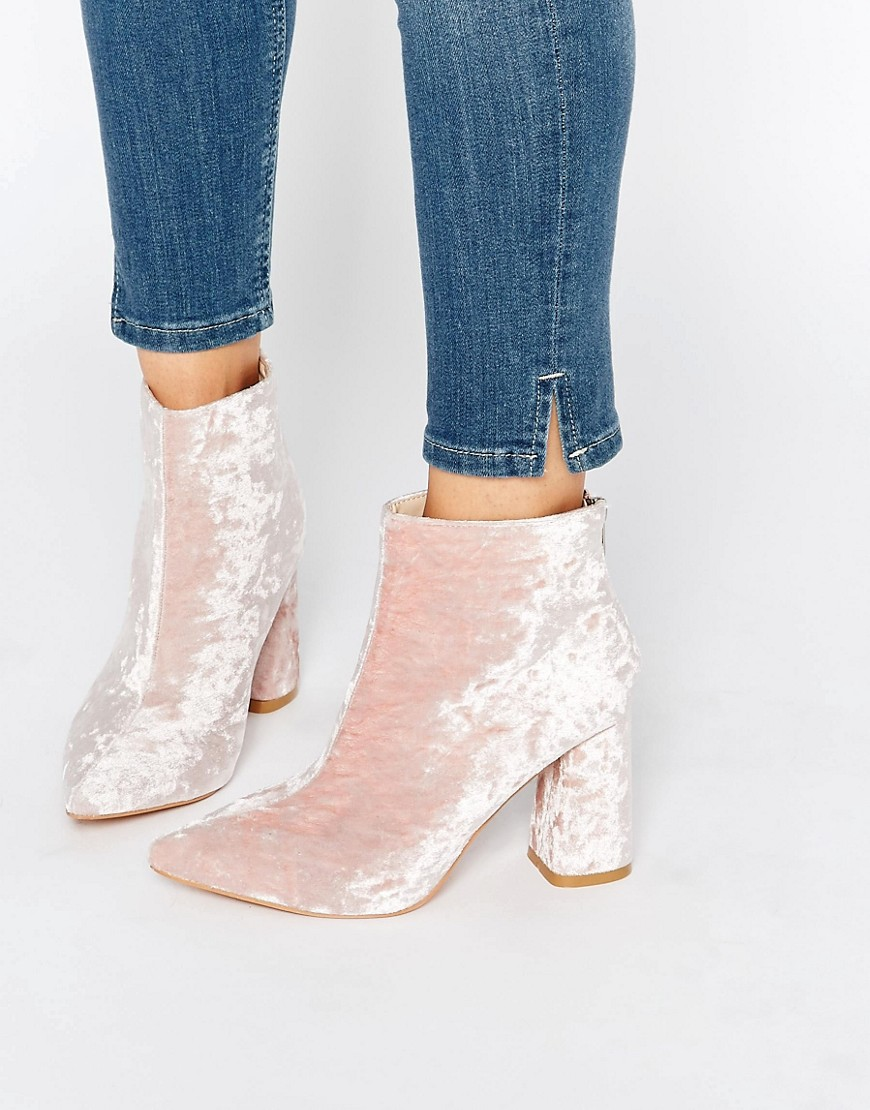 Daisy Street Pink Crushed Velvet Point Heeled Ankle Boots - 8 Perfect Velvet Pieces for Fall