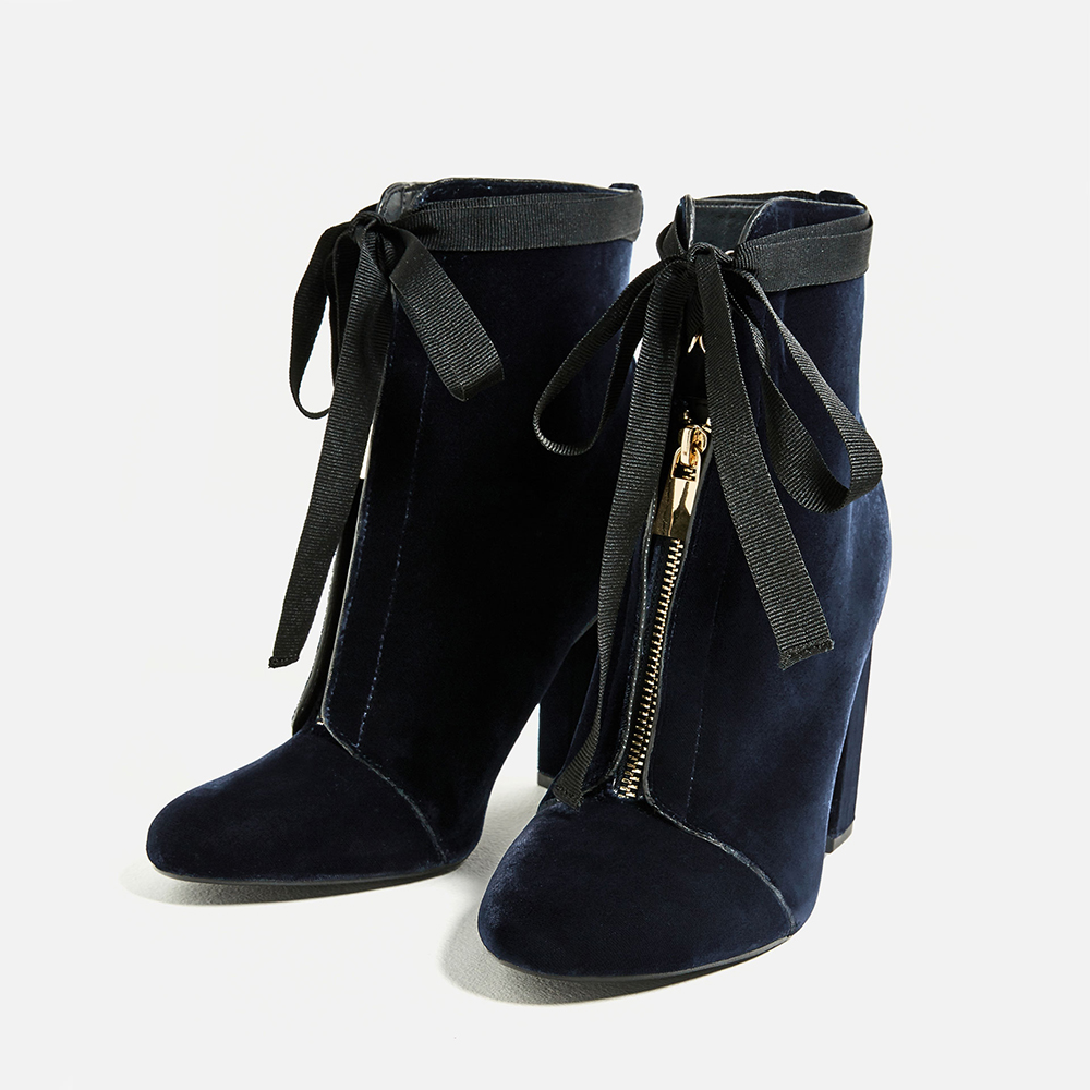 Zara High Heel Velvet Ankle Boots - 8 Perfect Velvet Pieces for Fall