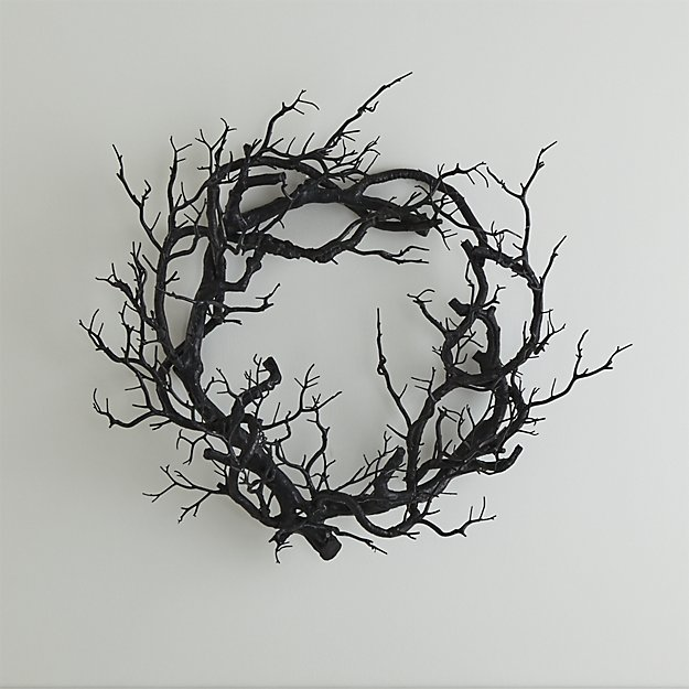 Crate and Barrel Black Branch Wreath - Spooktacular Halloween Home Decor