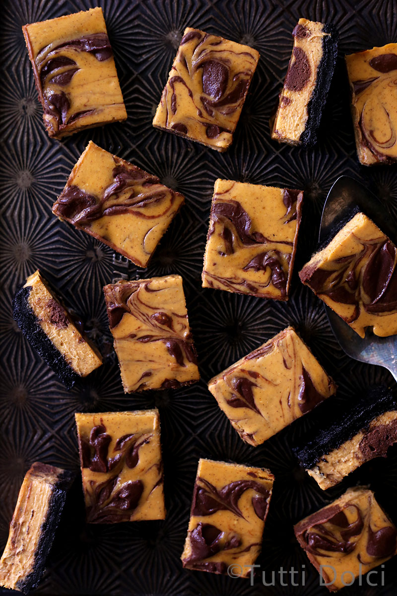Pumpkin Chocolate Cheesecake Bars | Tutti Dolci - 10 Sweet Pumpkin Recipes