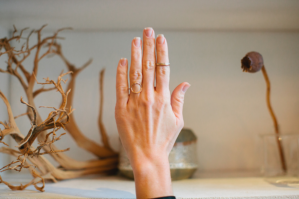 Silver + Salt with Uncommon Cartography stacking rings and open circle ring - Silver and Salt Jewelry