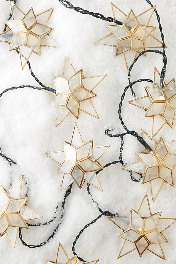 Anthropologie Capiz Star String Lights - Deck Your Halls Christmas Ornaments and Home Decor