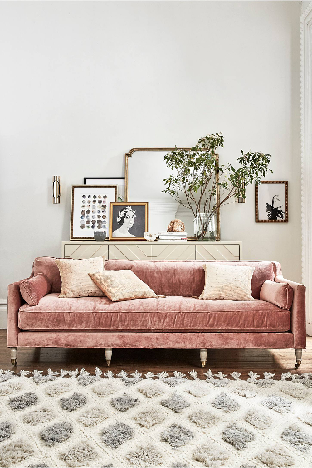 Anthropologie Slub Velvet Leonelle Sofa - rose inspiration