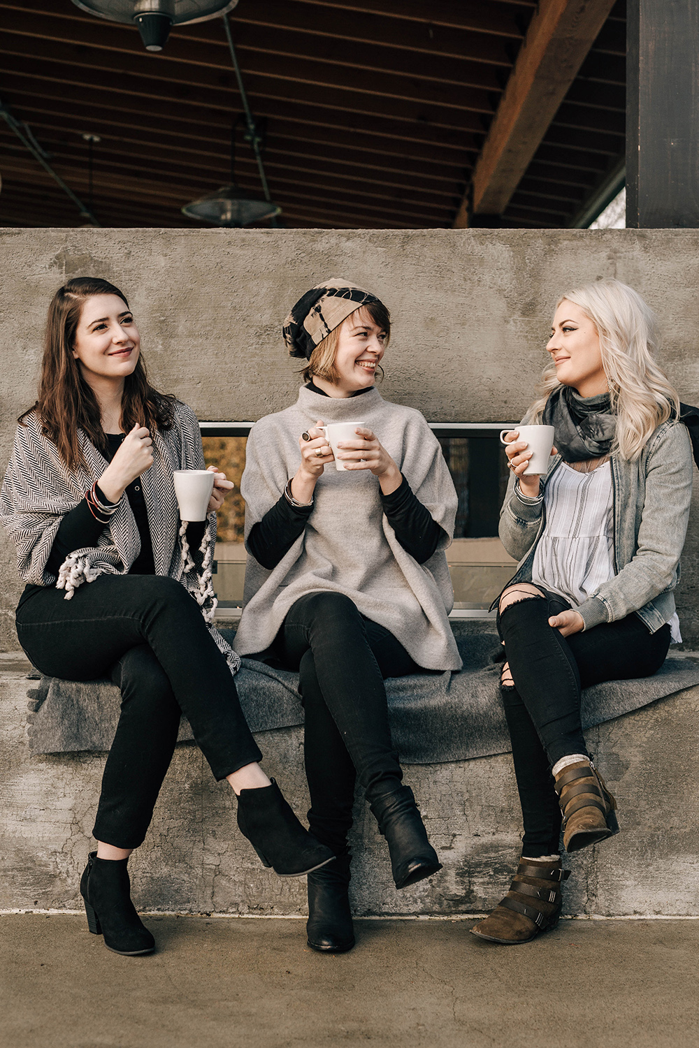 The Lodges on Vashon - Julia Amodt of @styleandcheek, Esther Swaty of @uncommoncartography, and Lana Dmitruks of @lanadmitruks The Pavilion fireplace photo by Danny Owens - The Lodges on Vashon review