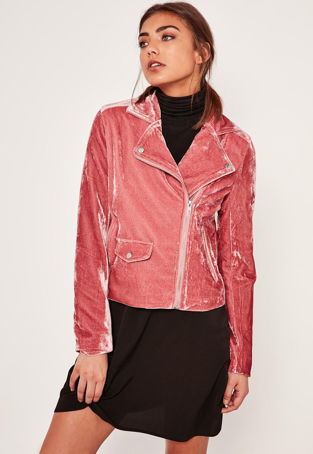 Missguided Pink Velvet Biker Jacket | Valentine's Day Gift Guide