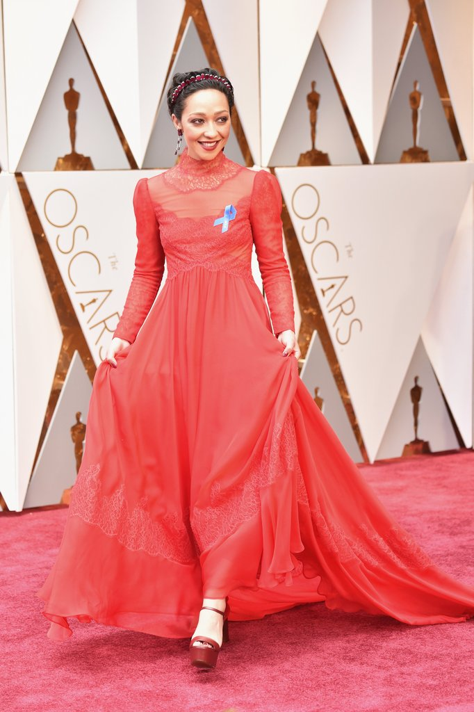 Ruth Negga Wears Blue Ribbon on Oscar Night Getty Images - Best of The Oscars 2017