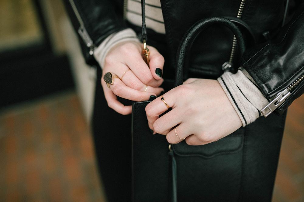 All Saints Balfern Leather Biker Jacket, Rebecca Minkoff MAB Mini - Leather jacket outfit