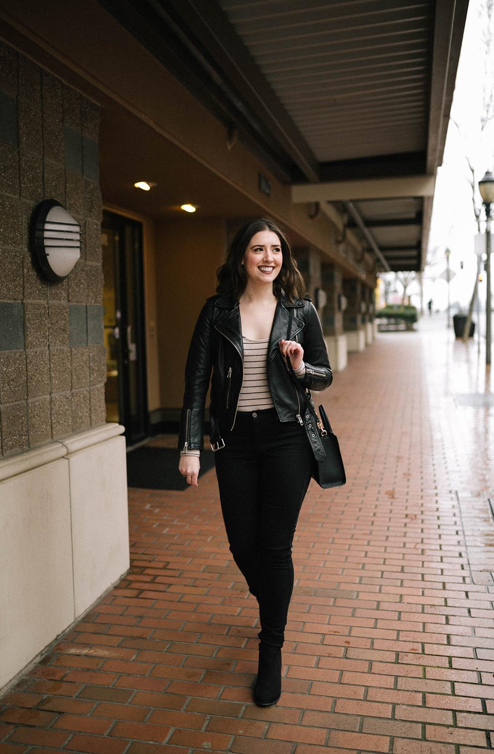 All Saints Balfern Leather Biker Jacket, Madewell Striped Bodysuit - Leather jacket outfit