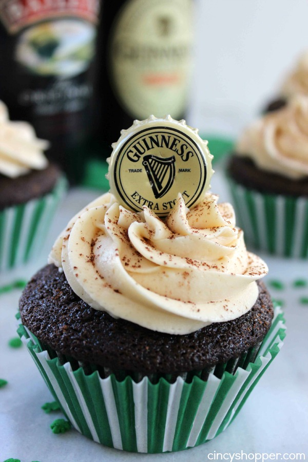 Guinness Cupcakes with Baileys Frosting | Cincy Shopper - Pinterest Picks - 8 Sweet Guinness Recipes for St. Patricks Day