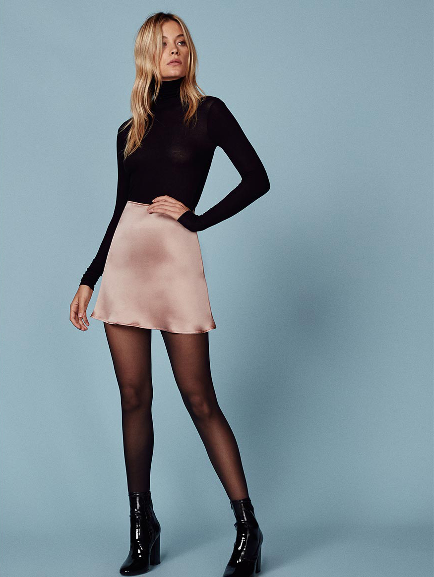 Reformation Benson Skirt in Blush - The Perfect A-line Mini Skirt