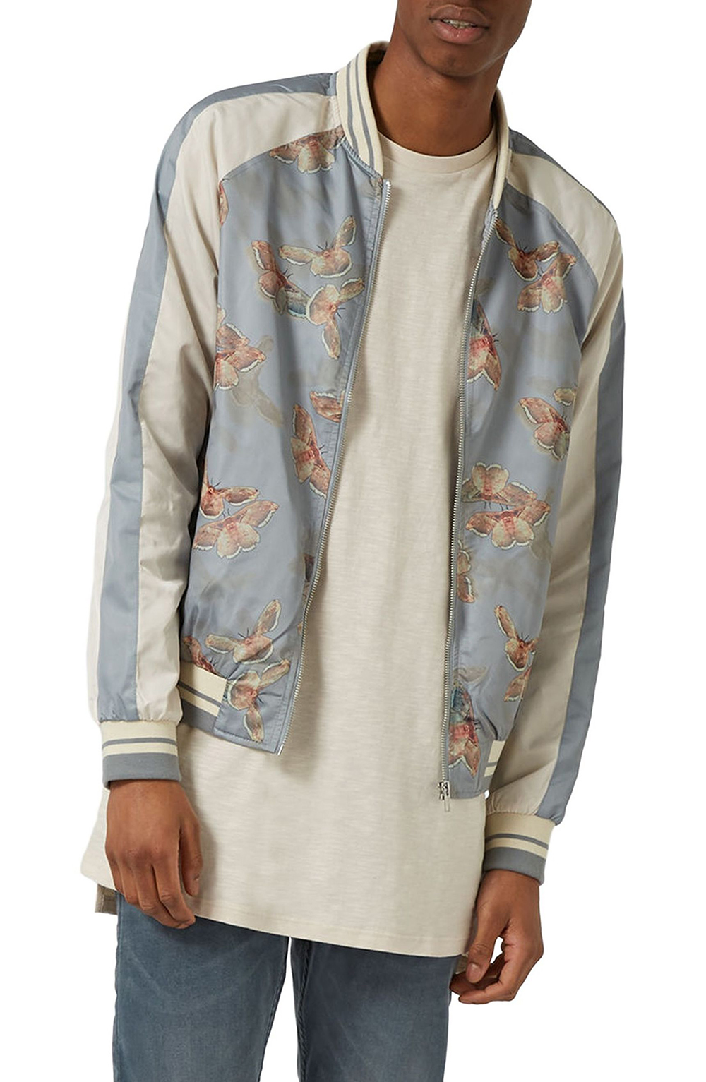 Topman Moth Print Souvenir Bomber Jacket - Spring Menswear: Button Downs and Bomber Jackets