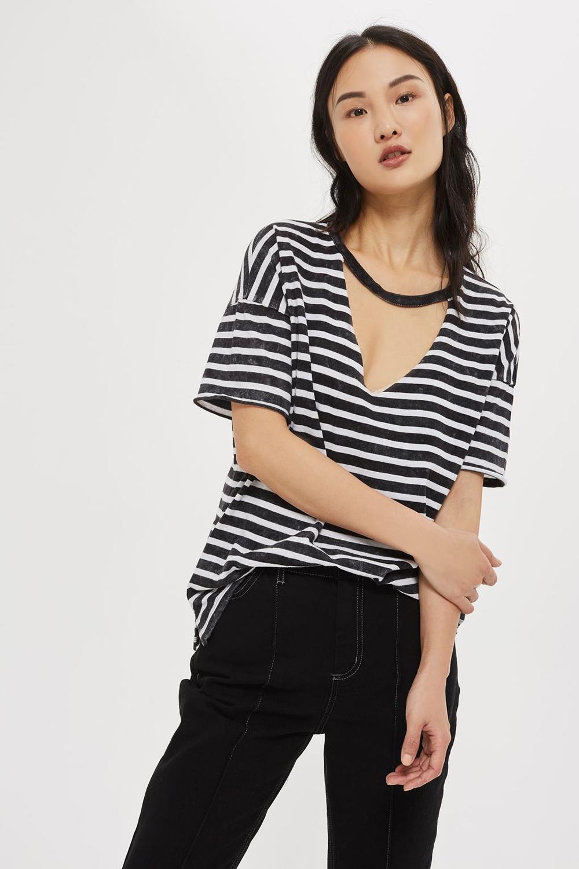Topshop Choker Acid Stripe T-Shirt - Wardrobe Refresh: Topshop for Spring