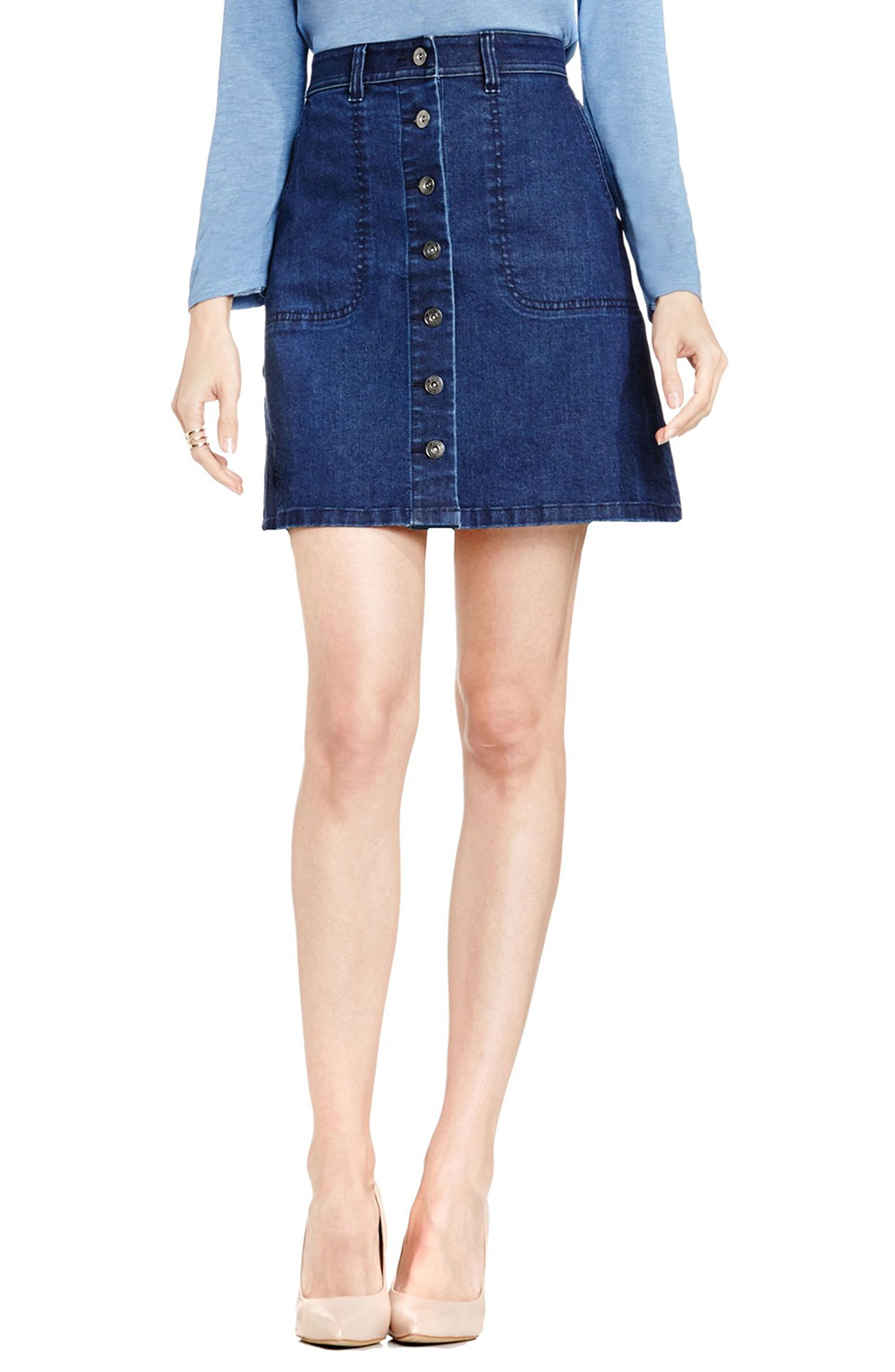 Two by Vince Camuto A-Line Denim Miniskirt - The Perfect A-line Mini Skirt