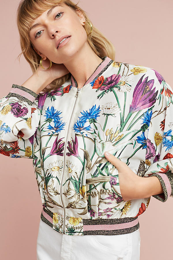 Anthropologie Rubie Floral Bomber