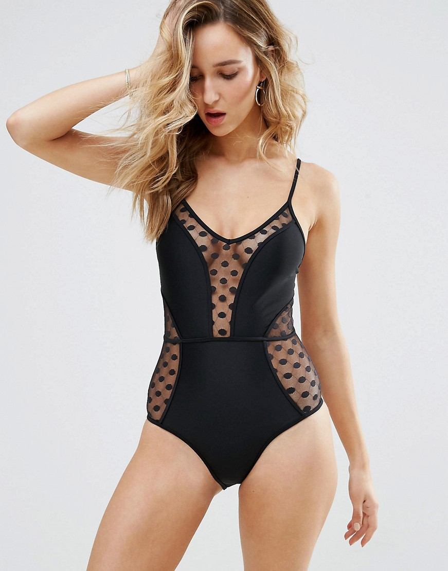 New Look Spot Mesh Swimsuit - swimwear 2017