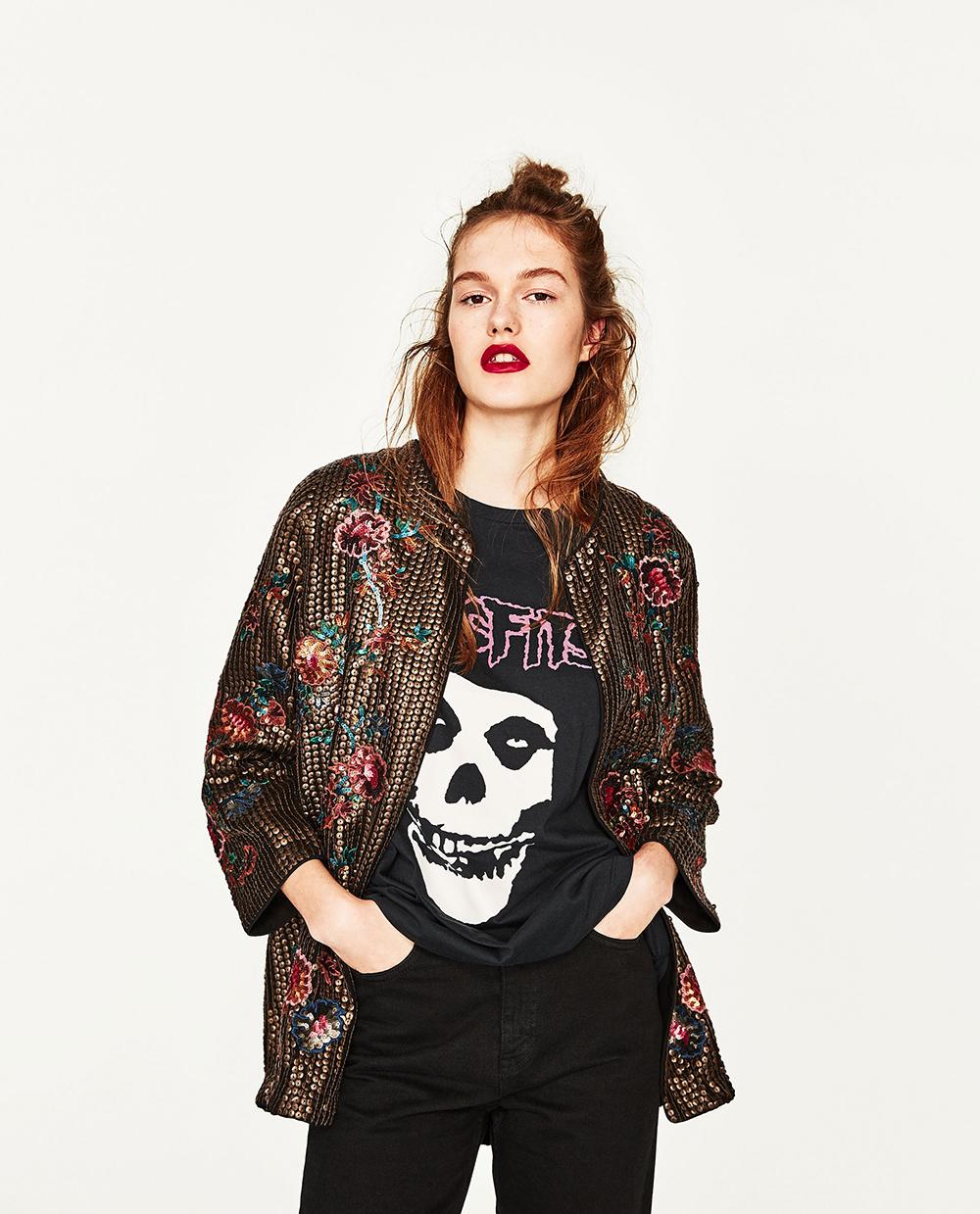 Zara Sequined Kimono Jacket