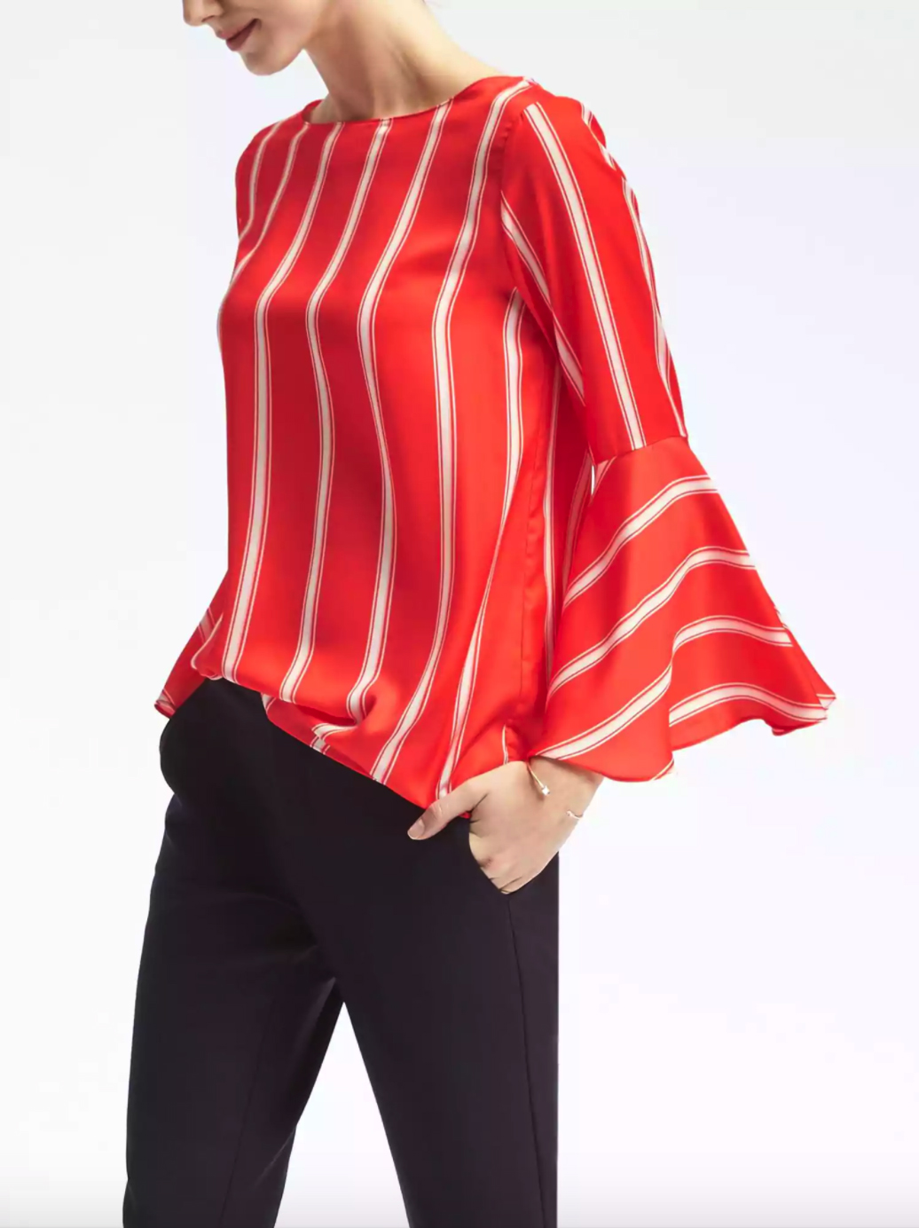 Banana Republic Stripe Fluted-Sleeve Top - Statement Sleeves