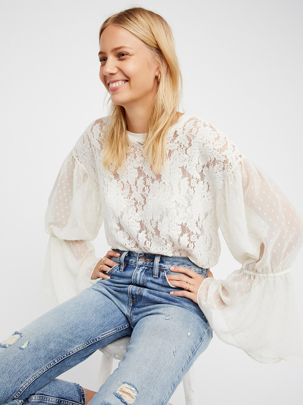 Free People Something Like Love Top - Statement Sleeves