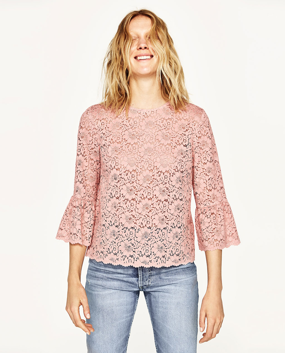 Zara Lace Top With Frilled Sleeves - Statement Sleeves