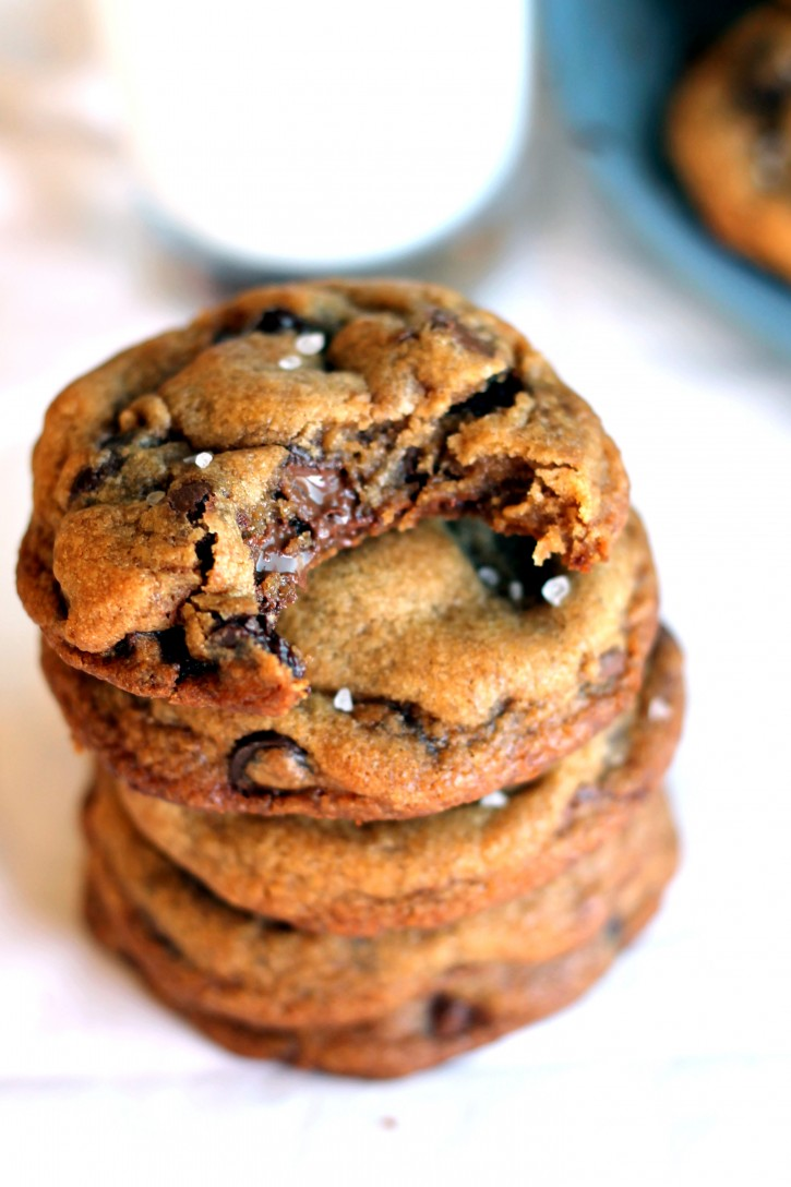 Nutella-Stuffed Brown Butter + Sea Salt Chocolate Chip Cookies   Ambitious Kitchen   Chocolate Desserts