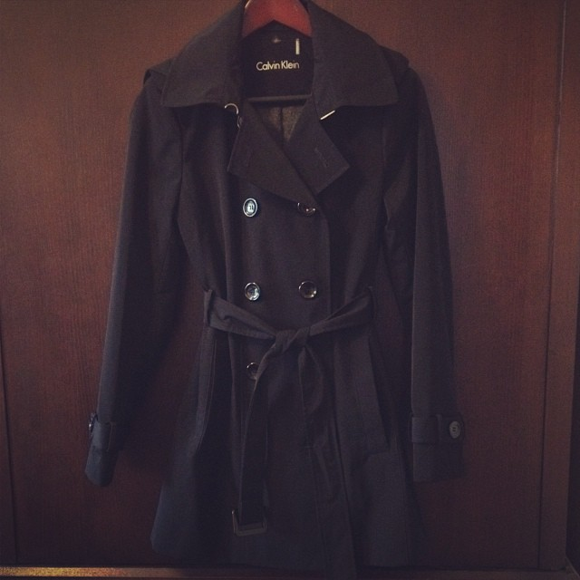 Calvin Klein Double Breasted Trench Coat style and cheek