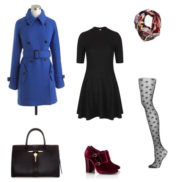 How She'd Wear It with Style and Cheek - cobalt coat with dress