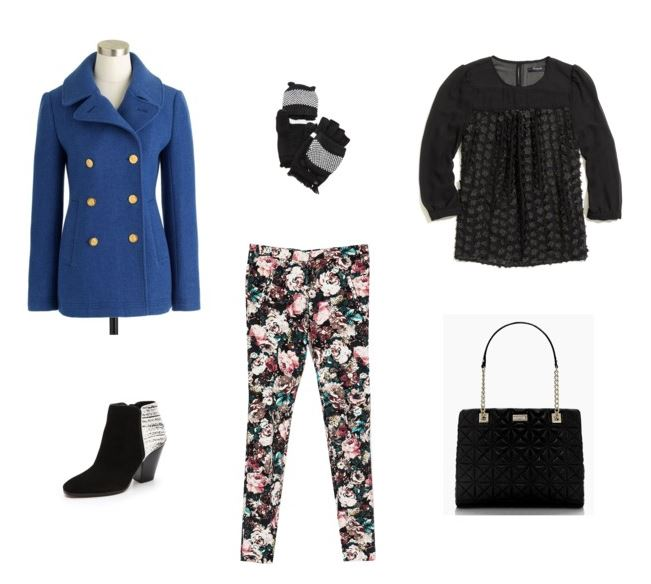 How She'd Wear It with Style and Cheek - cobalt coat with printed pants