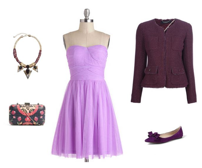 How She'd Wear It with Style and Cheek - Radiant Orchid Date Outfits - Strapless Dress