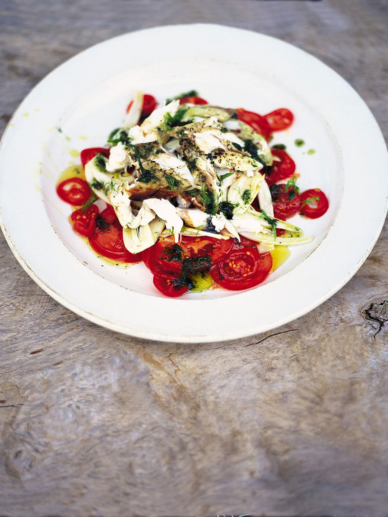 Fantastic tomato & fennel salad with flaked barbecued fish Italian-style herby fish with balsamic dressing | JamieOliver.com | Style and Cheek's Favorite Blog Posts of 2014