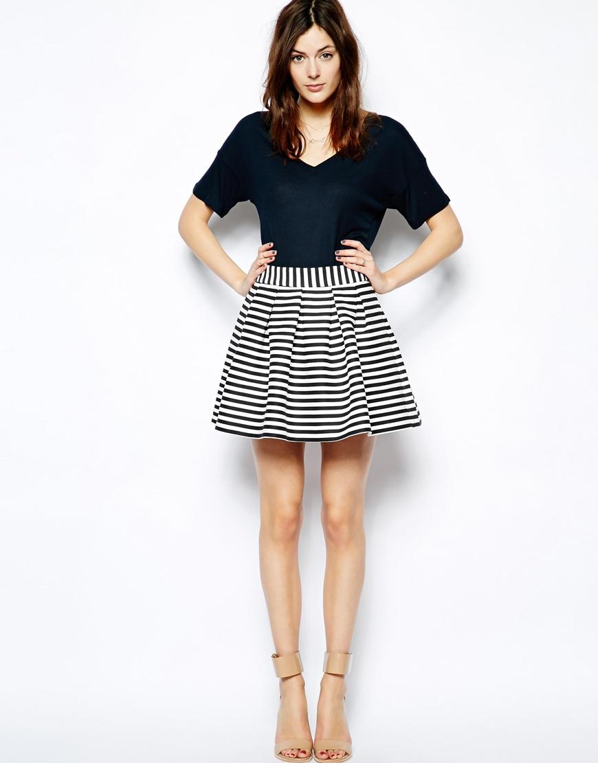 944b630366 ASOS Skater Skirt In Engineered Stripe | Pinterest Picks - Black and White  Stripes