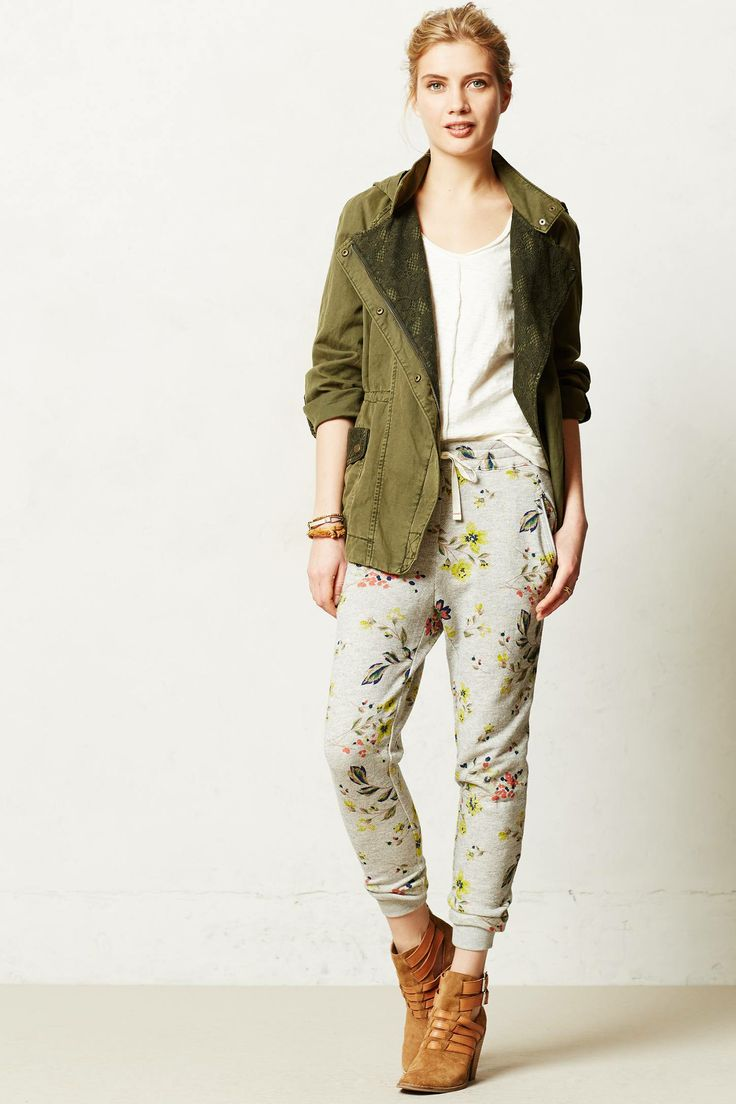 Anthropologie Floral Terry Pants | Fancy Friday - The Cost of Comfort - Cute Loungewear