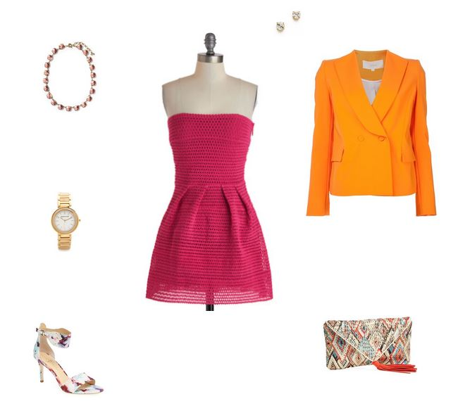 "How She'd Wear It with Style and Cheek - Pink with Brights ""Orange"""