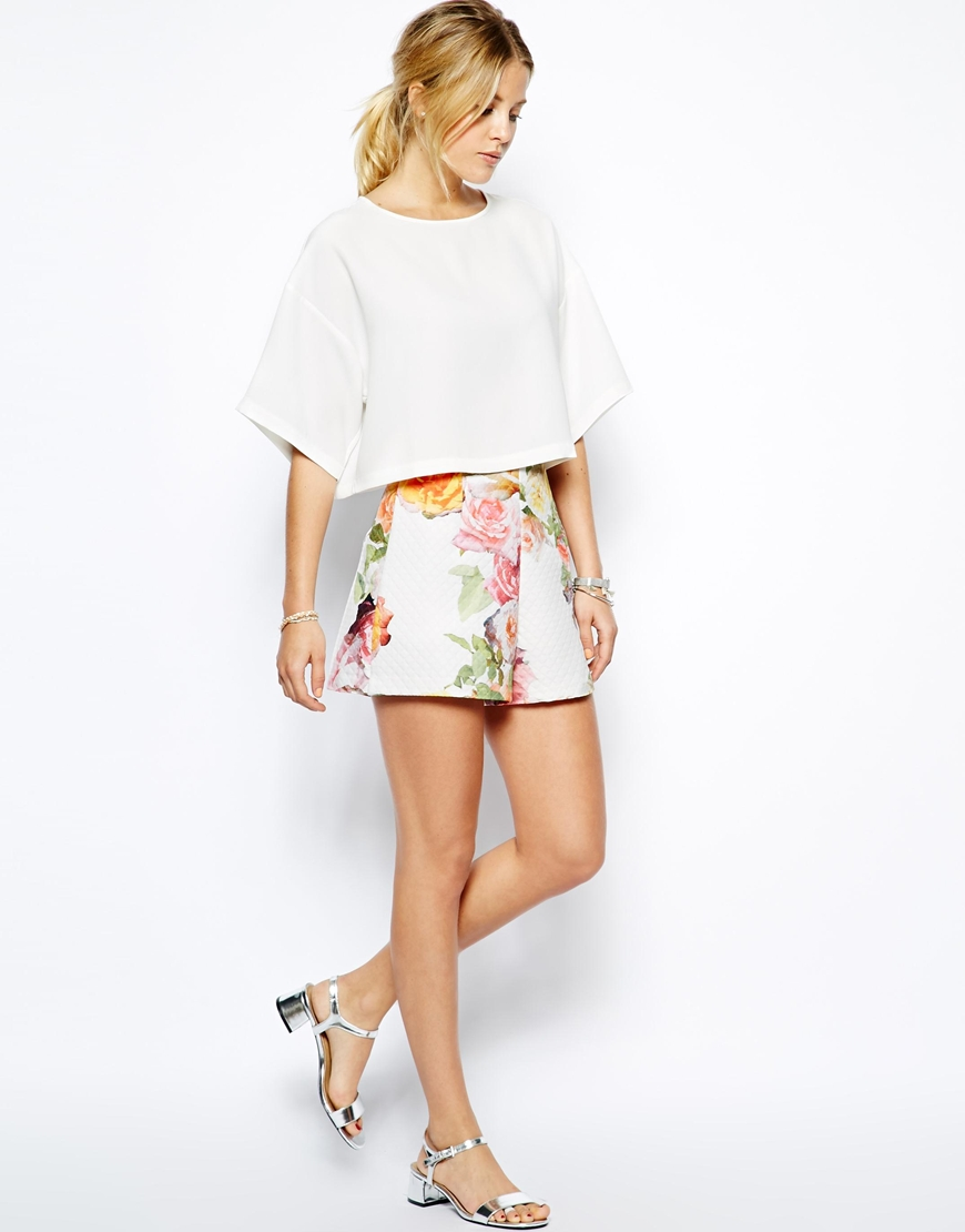 ASOS High Waisted Shorts in Textured Floral Print | What I Want - Floral Prints from ASOS on Style and Cheek