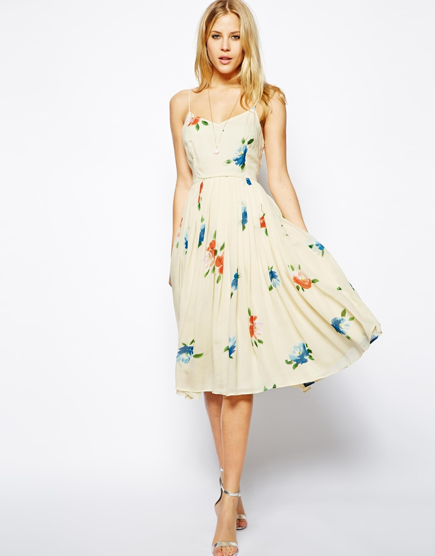 ASOS Midi Dress with Pleated Skirt in Floral Print | What I Want - Floral Prints from ASOS on Style and Cheek