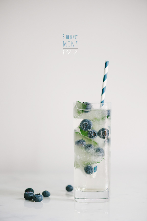 Blueberry Mint Fizz Cocktail and Fruit Ice Cubes | Waiting on Martha | Pinterest Picks - 4th of July Inspiration
