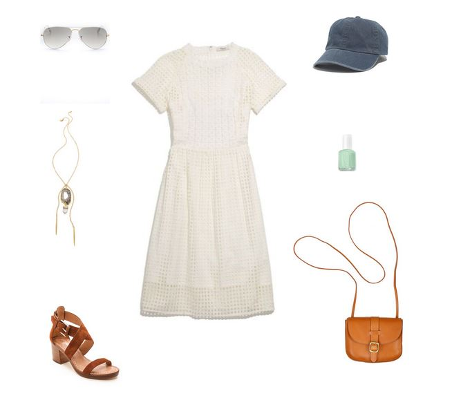 How She'd Wear It with Style and Cheek - Baseball Cap and White Dress | Baseball Cap and Dresses