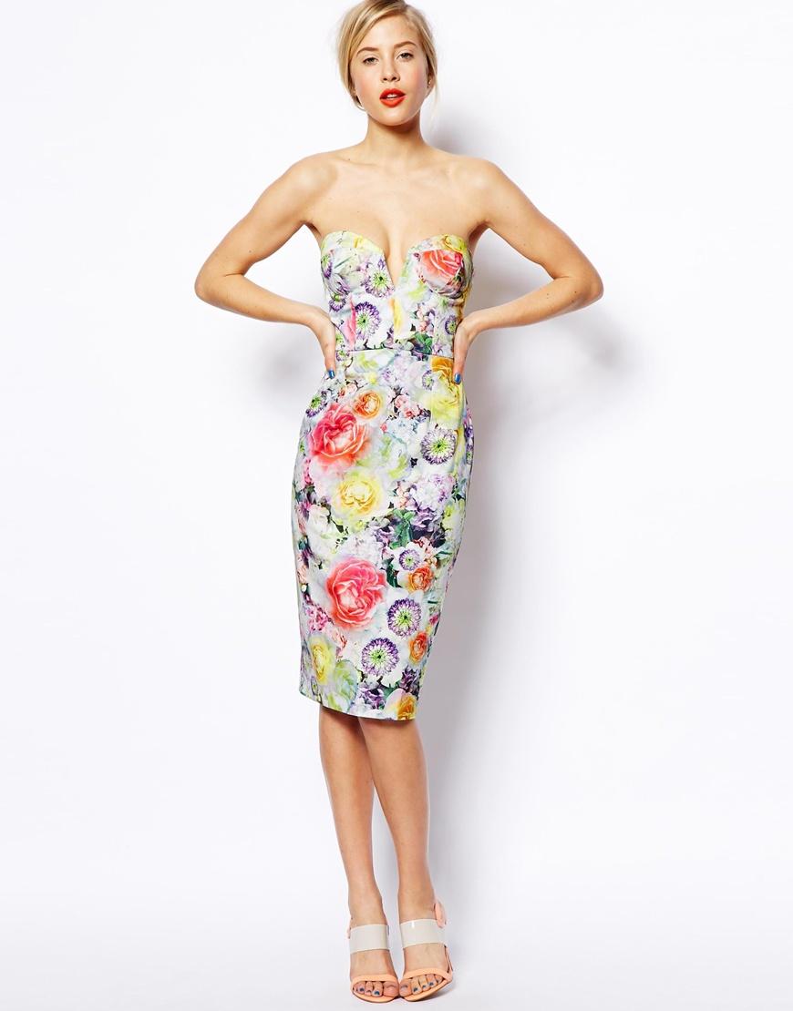 ASOS Floral Bandeau Midi Dress | Fancy Friday - Garden Party Floral Prints