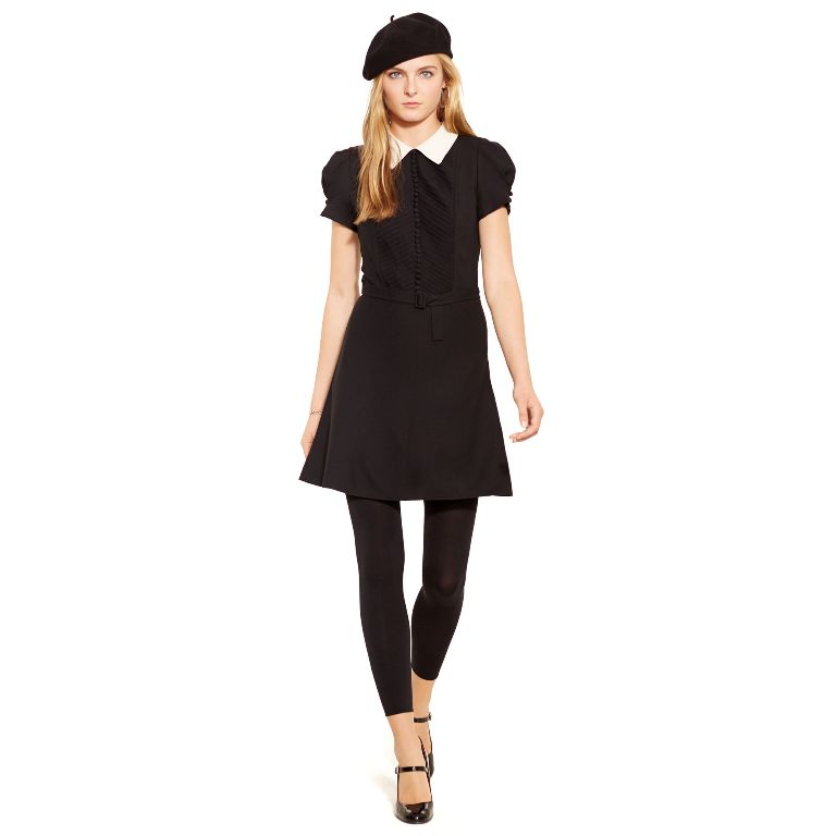 Polo Ralph Lauren Contrast-Collar Crepe Dress | Fancy Friday - Polo Ralph Lauren Fall Dresses and Skirts