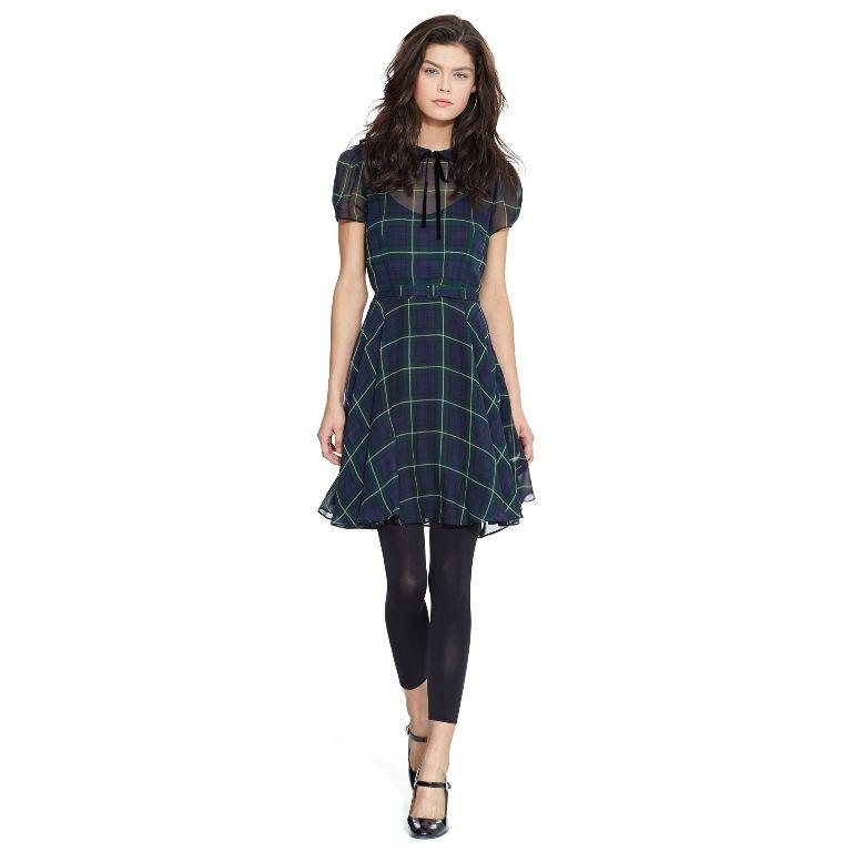 Polo Ralph Lauren Silk Georgette Tartan Dress | Fancy Friday - Polo Ralph Lauren Fall Dresses and Skirts