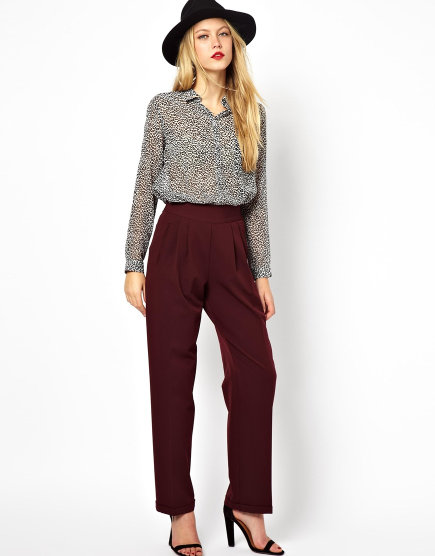 ASOS Wide Leg Pants With High Waist | Mad About Burgundy Fall 2014