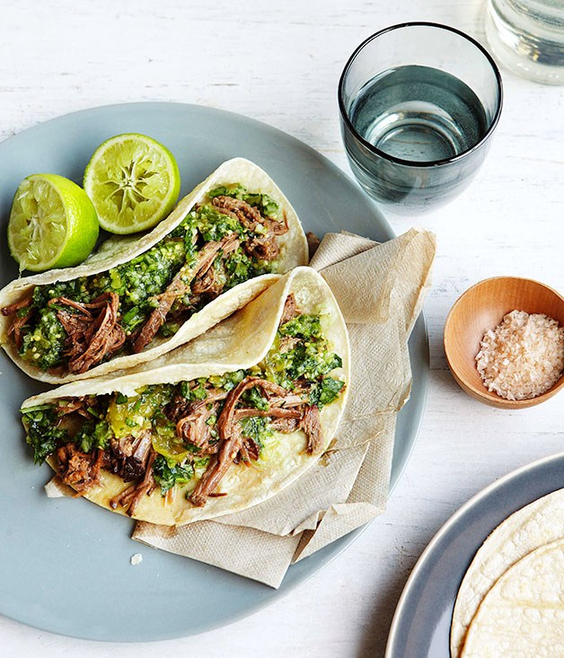 Brisket Tortillas with Green Chilli, Tomatillo Sauce, and Cucumber Salsa | Gourmet Traveller | Pinterest Picks - End of Summer Recipes