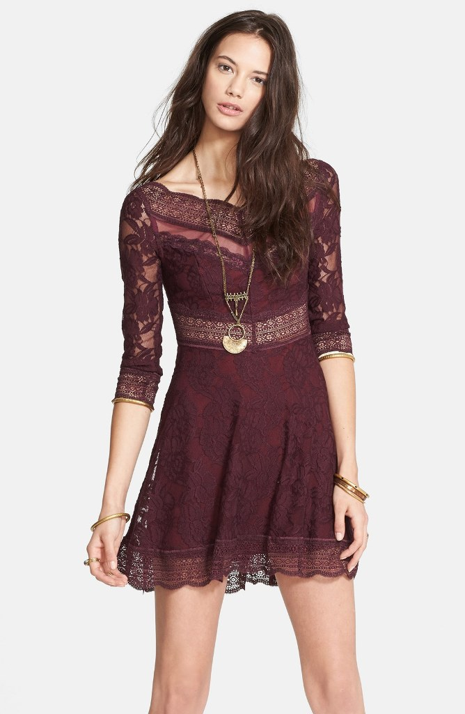 Free People Lacey Affairs Mixed Lace Skater Dress | Mad About Burgundy Fall 2014