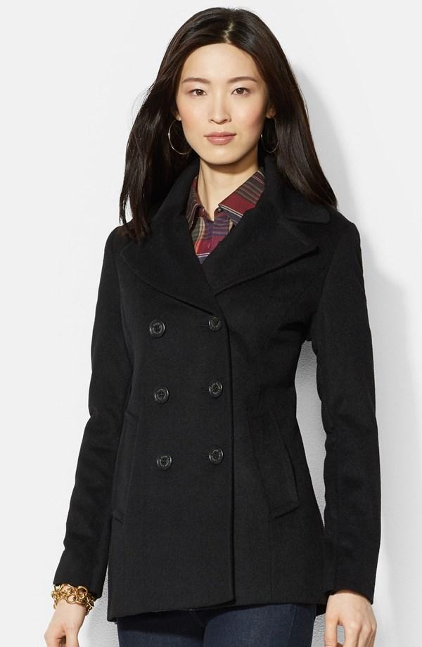 Lauren Ralph Lauren Double Breasted Wool Blend Peacoat | Fall Coats for 2014